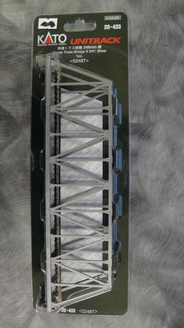 "20433 Kato USA Inc / 248mm (9 3/4"") Single Track Truss Bridge, Silver  (SCALE=N)  Part # 381-20433"