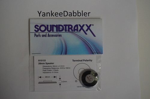 810153 Soundtraxx /  28mm Round, 8 Ohm (2 Watt) Replaces 810054 (SCALE=ALL) Part # = 678-810153