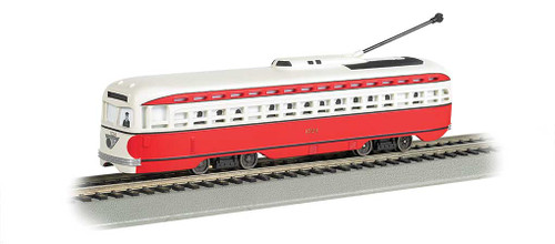 60505 BACHMANN / PCC Streetcar Pittsburgh/Allegheny Transit (red, white) #60505 w/DCC, Sound & Sparking Trolley Pole  (HO Scale) Part # = 160-60505