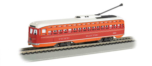 60502 BACHMANN / PCC Streetcar Pacific Electric (red, orange) #60502 w/DCC, Sound & Sparking Trolley Pole  (HO Scale) Part # = 160-60502