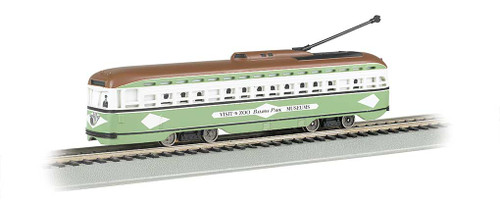 60501 BACHMANN / PCC Streetcar San Diego (light green, white) #60501 w/DCC, Sound & Sparking Trolley Pole  (HO Scale) Part # = 160-60501