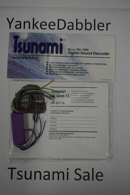 827116 Soundtraxx / Tsunami  TSU-1000 827116 GE GEVO-12 Diesel Scale = All Part # = 678-827116