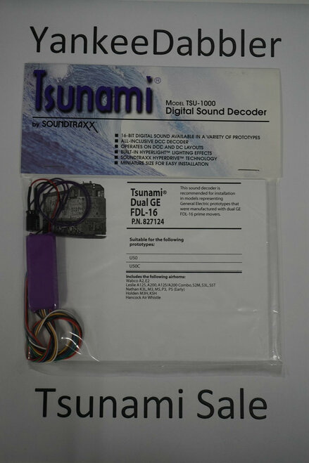 827124 Soundtraxx / Tsunami  TSU-1000 827124 Dual GE FDL-16 Diesel Scale = All Part # = 678-827124