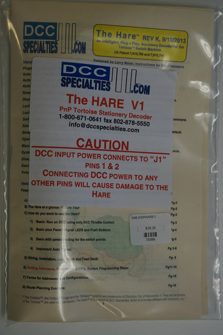 "DCC SPECIALTIES 246-HAREV1 - The Hare"" - Plug & Play Stationary DCC Decoder for Tortoise Switch Machines -- No Feedback"" (SCALE=ALL) 246-HAREV1"