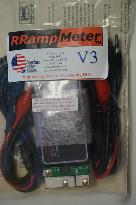 DCC SPECIALTIES 246-RRAMPMETER V3 - Digital Meter for DCC- DC & AC Volts & Amps -- Version III - Enclosed w/Clip Leads & Battery Backup for Low Voltage (Scale=All)  246-RRAMPMETER V3