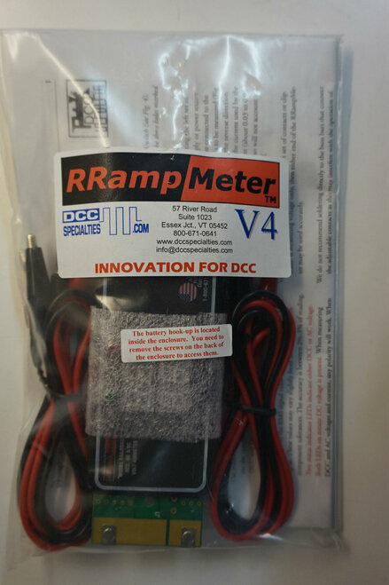 DCC SPECIALTIES 246 RRAMPMETER V4 - Circuit Module -- Version IV - Enclosed w/Clip Leads & Battery Backup for High Voltage (Scale=ALL)  246-RRAMPMETER V4