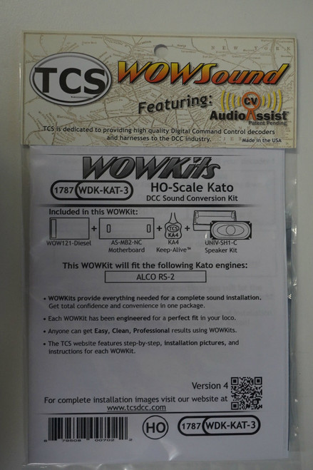 1787 TCS TRAIN CONTOL SYSTEMS / KATO WDK-KAT-3 WOW DIESEL Version 4 CONVERSION KIT - HO Scale  YankeeDabbler Part # 745-1787