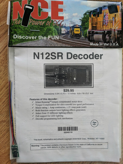 119 NCE /  Silent Running(tm) Decoder -- N12SR - (SCALE=N) Part # = NCE119