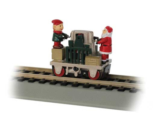 46224 Bachmann / Gandy Dancer Operating Handcar- Christmas w/Santa & Elf - Standard DC Bachmann Industries Scale = HO Part # = 160-46224