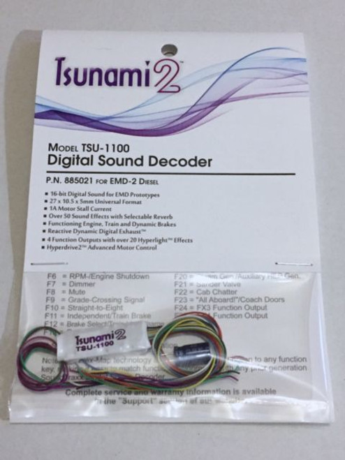 885021 Soundtraxx / Tsunami 2 Diesel EMD-2 Set, 4-Function, Universal TSU-1100 (1 Amp) Digital Sound Decoders (scale = HO) Part # = 678-885021
