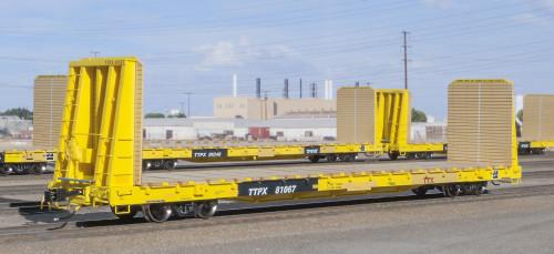Scaletrains {SXT31545} BSC F68AH Bulkhead Flatcar - TTX Co. - TTPX - 2007 PRR Heritage Logo #81067 (Scale=HO) Part#8003-SXT31545