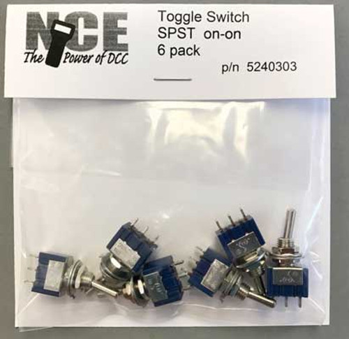 303 NCE / TS6S On/On SPST Toggle Switch 6-Pack NCE Corporation #TS6S  (SCALE=ALL) Part # 524-303