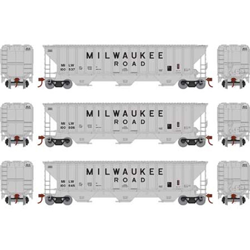 Athearn ATH18754 PS 4740 Hopper 3 Pack Milw - Milwaukee Road #100537, 100606 & 100645  (HO Scale) Part #ATH18754