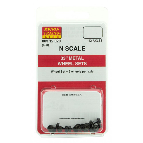 "MICRO TRAINS 003 12 020 33"" Metal Wheels (12 Axle) Sets (403)  (SCALE=N)   - YANKEEDABBLER   PART #  = 489-00312020"