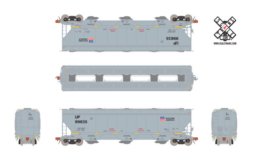 Scaletrains {SXT31607} Gunderson 5188CF Hopper UP - Union Pacific - Anti Graffiti Reporting Marks #99835 (Scale=HO) Part#8003-SXT31607