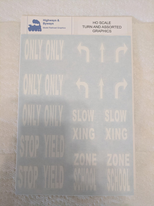 70-4 Highways & Byways Turn & Assorted Graphic Decals (SCALE=HO) Part # 70-4