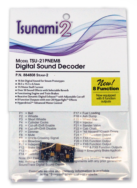 884808 Soundtraxx / Tsunami 2 Steam-2, 8-Function, Universal TSU-21PNEM (1 Amp) Digital Sound Decoders (Scale=HO) Part # = 678-884808