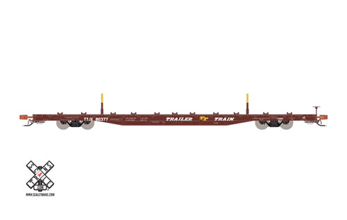 Scaletrains SXT32228 BSC F68BH Finger Rack Flatcar TTJX - Trailer Train - Oxide Red #80515 HO Scale