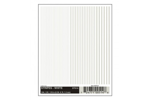 """Woodland Scenics 514 Dry Transfer Alphabet & Number Sets -- Stripes - White 1/64, 1/32 & 1/16"""" A Scale"""