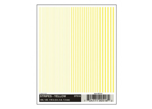 """Woodland Scenics 516 Dry Transfer Alphabet & Number Sets -- Stripes (yellow) 1/64, 1/32 & 1/16"""" A Scale"""