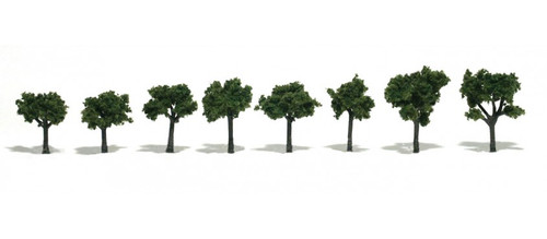 """Woodland Scenics 1501 Deciduous Trees - Realistic Trees -- Medium Green 3/4 to 1-1/4""""  1.9 to 3.2cm pkg(8) A Scale"""