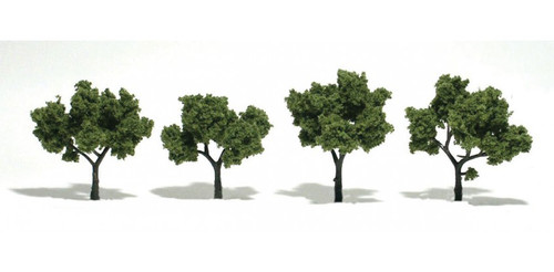 """Woodland Scenics 1503 Ready-Made """"Realistic Trees"""" - Deciduous - 2 to 3""""  5.1 to 7.6cm pkg(4) -- Light Green A Scale"""