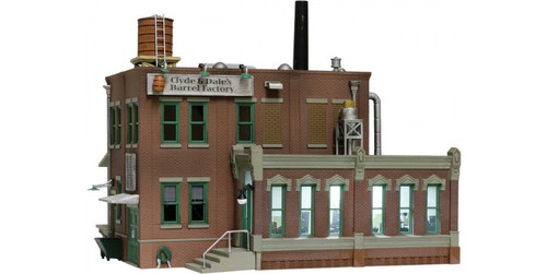"""Woodland Scenics 4924 Clyde & Dale's Barrel Factory - Built-&-Ready(R) Landmark Structures(R) -- Assembled - 3-9/16 x 3-1/8""""  9 x 8cm N Scale"""