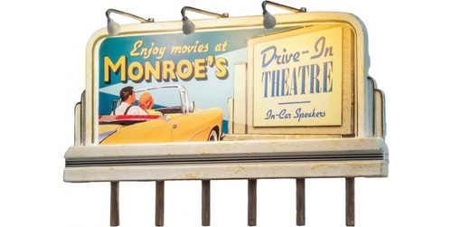 Woodland Scenics 5794 Lighted Billboard - Just Plug(R) -- Monroe's Drive-In HO Scale