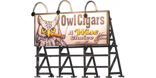 Woodland Scenics 5795 Lighted Billboard - Just Plug(R) -- Wise Tobacco Co. HO Scale