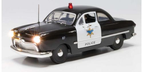 Woodland Scenics 5973 Police Car - Just Plug(R) Lighted Vehicle -- Black, White O Scale