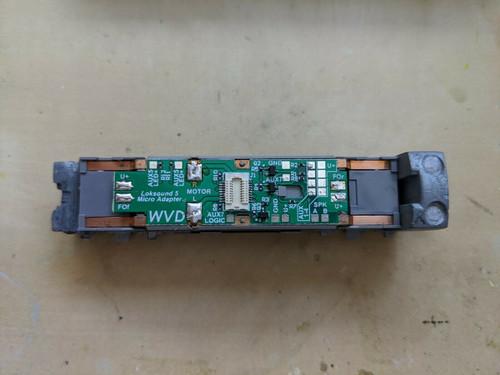 WVD LokSound 5 Next18 decoder adapter board designed for Kato DCC-ready N scale F2, F3, F7, F40PH and P42 locomotives.