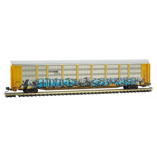 Micro-Trains 11144400 89' Tri-Level Closed Autorack NS Norfolk Southern Graffiti #995868 N Scale