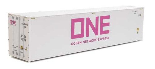 Walthers 949-8364 40' Hi-Cube Smooth-Side Reefer Container - Ocean Network Express - ONE (white, magenta) HO Scale