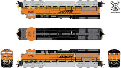 ScaleTrains SXT32619 Rivet Counter HO Scale GE ET44C4 Tier 4 GEVO, BNSF/Heritage III (Run 5) #3752