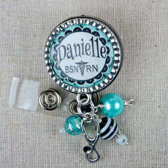 Bright Turquoise Damask Design Personalized Badge Reel