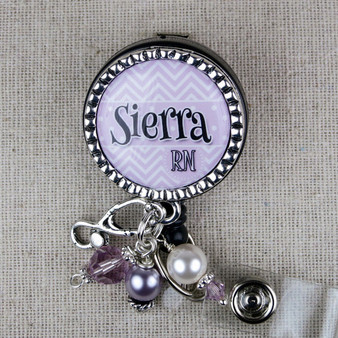 Nurse ID Badge Reel - CUSTOM Purple Chevron RN Badge Reel