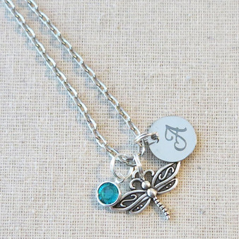 Personalized DRAGONFLY Necklace - Cute Dragonfly Charm Jewelry