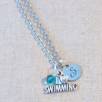 I LOVE SWIMMING Personalized Necklace - Swim Team Gifts