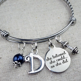 She Believed She Could So She Did Barbell Bangle Bracelet