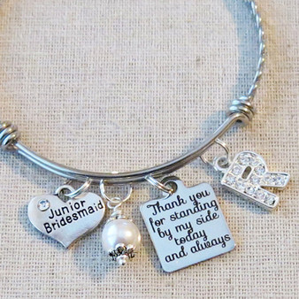 CUSTOM Jr Bridesmaid Keepsake Gift - Junior Bridesmaid Bangle Bracelet