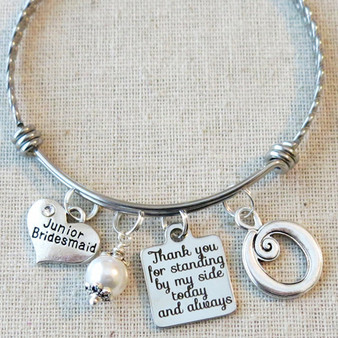 Jr Bridesmaid Bracelet - Personalized Bridesmaid Keepsake Bangle
