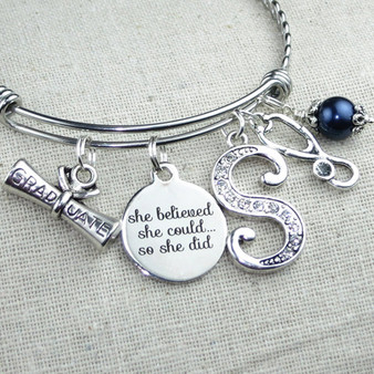 Nurse Graduation Gift - Stethoscope Charm Bangle Bracelet