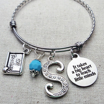 It Takes a Big Heart to Teach Little Minds Bangle Bracelet For Teacher