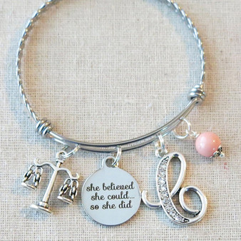 Scales of Justice Bangle Bracelet - Gift for LAWYER