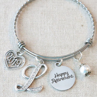 RETIREMENT Gift Bangle Bracelet - Personalized 2019 Happy Retirement Gift for Her