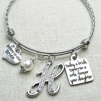 MOTHER of the BRIDE Gift - Today a Bride Wedding Keepsake Bracelet