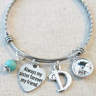 Always My Sister Forever My Friend Bracelet - Personalized Gift for Sister
