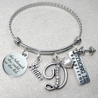 STRONG Is Beautiful Bracelet - Dumbbell Charm Bangle