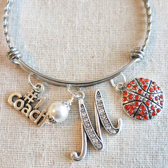 Personalized Basketball Coach Gift - #1 Coach Charm Bangle Bracelet