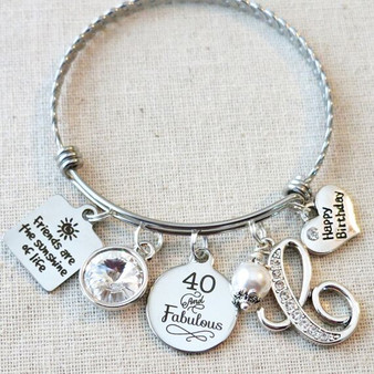 40 And Fabulous Birthstone Gift - Friends Are The Sunshine Of Life Birthday Bracelet